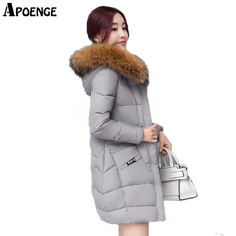 APOENGE winterjas vrouwen Ladies Coat Women Winter Thick Long Jacket Plus Size 2017 Hooded Fur Collar Padded Parka Mujer QN633Îäåæäà è àêñåññóàðû<br><br>