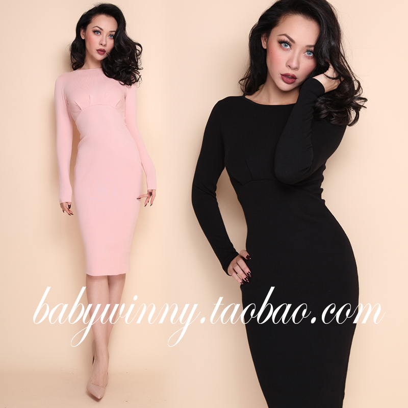 European Street Beat 2016 Winter New Occident Ladies Street Beat Chest Folds Slim Elastic Tight Solid Color Pencil Dress Women