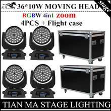 4PCS/ led 36X10W zoom moving beam lights + Flight Case rgbw 4in1 moving wash lights, stage professional dj equipment