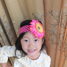 Crochet Mesh Headbands Daisy flower clips Stretch hair band Hairband Hair bow Kids Photography Props