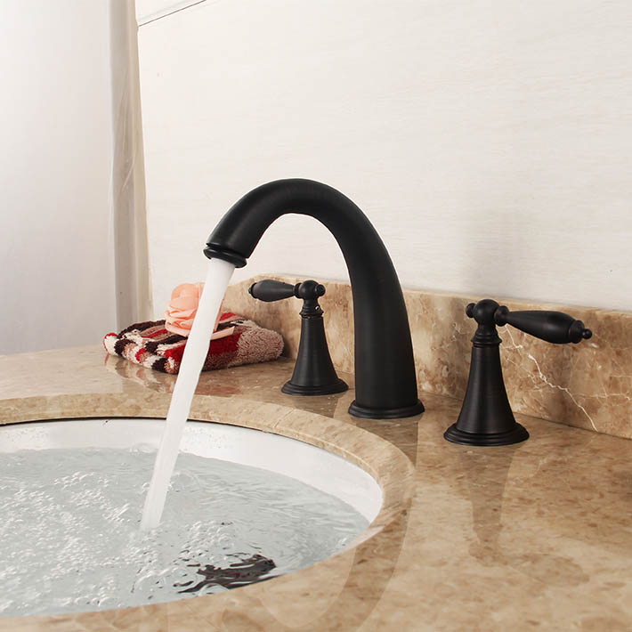 8 widespread Deck Mount bathroom mixer  Basin Sink Faucet water tap  Dual holder three hole  Oil Rubbed Bronze Tap<br><br>Aliexpress