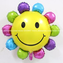 10 pcs/lot 86x82cm Sunflower Balloons smiling face Foil Balloon Children Gift Birthday/Party/Wedding Decoration Balloons