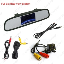 "4.3""inch LCD Digital Car Rearview Monitor With Mirror + CCD 4-led Reversing Camera Car Rear View System 2 in 1#CA3740"