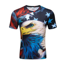 2017 latest brand 3D print American flag Eagle T-shirt Harajuku men's sportswear printing 3D T-shirt hip-hop shirt(China)