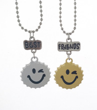 10 sets/lot Hot selling Europe and the United States children jewelry best friends Smiling face bottle necklace