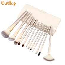 OutTop Love Beauty 12pcs Cosmetic Makeup Brushes set Soft Powder Fondation Eyeshadow Eyelash Comb Tool with Leather Pouch Bag(China)