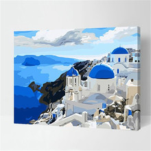 Blue Mediterranean Coloring By Numbers DIY Frameless Landscape Arts quadri da parete Digital Oil Painting On Canvas acrylic(China)