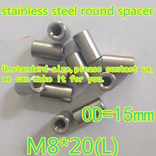 10pcs/lot M8*20  Stainless Steel 304 Round Spacer Standoff  Connect Nut OD=16mm<br><br>Aliexpress