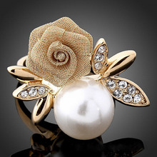 Romantic Rose Flower Imitation Pearl Fashion Ring Floral Rings Women Valentine's Day Jewellery R00088(China)