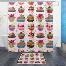 Lovely Food Shower Curtain and Mat Set, Colorful Cupcakes Waterproof Fabric Bathroom Curtain(China)