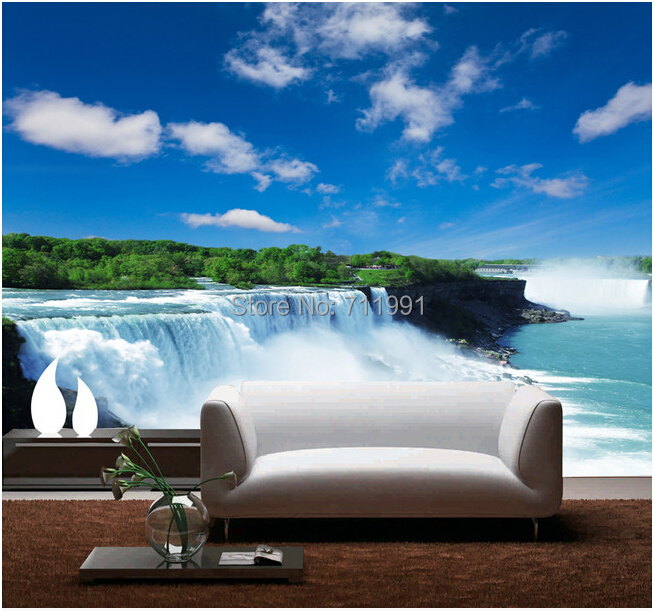 Custom blue and white mountain stream natural scenery wallpaper ocean mural decoration for the bedroom living room sofa backdrop<br><br>Aliexpress