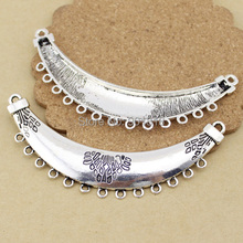 "10pcs/lot pendant Link, antique silver-Color ""pewter"" beads,single-sided curved bar and loop F1092(China)"