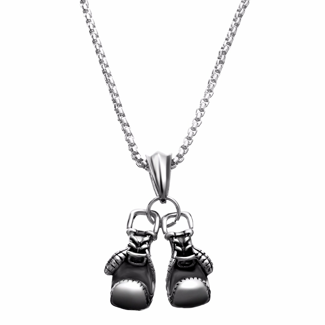 Fashion Sport Fitness Jewelry Double Boxing Glove Pendant Necklace Chic Men Hiphop Chain Necklace Cool Male Jewellery