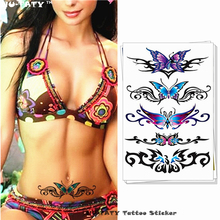 Nu-TATY Sexy Butterfly 3d Garland Temporary Tattoo Body Art Flash Tattoo Stickers 17*10cm Waterproof Fake Tatoo Henna tools(China)