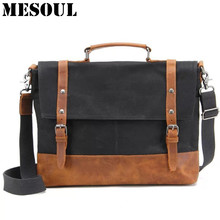 MESOUL Waterproof Canvas Men Laptop Bag Handbag Vintage Crazy Horse Leathe Messenger Bags High Quality Office Male Briefcases(China)
