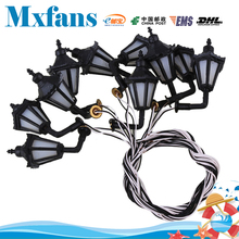 Mxfans Black Scale 1:100 LED Lamppost Wall Light Lamps Model Metal Plastic Pack of 10