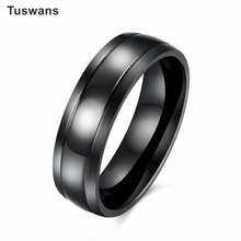 Tuswans Cool Black Titanium Steel Retro Vintage High Polished Men Ring Simple Line Texture Titanium Ring Male Jewelry(TSTGR081)(China)