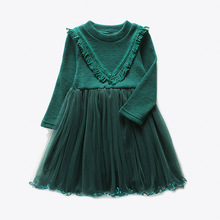 2017 Direct Selling Knee-length Full Princess Lace Dress New Girls Wedding Long Sleeve Kids Dresses For For Party And Clothing(China)