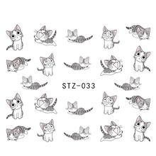 1sheets Nail Art Water Transfer Stickers Decals Cute Lovely Cat DIY 3d Designs Decorations for nails tips Manicure Tools STZ033(China)