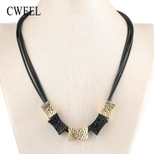 Buy CWEEL Pendant Necklaces Choker Necklace Women Vintage Wedding Jewelry Statement Necklace Gold Color Chain Leather Necklaces for $1.87 in AliExpress store