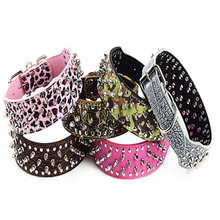 Spiked Big Dogs Product Collars Pet Rivet Accessories Supplies Leash For Large Dog Necklace Collar collier pour chiens tasma(China)
