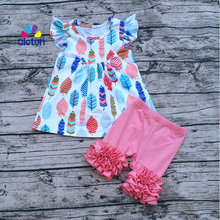 Hot Sale Baby print pearl dress Boutique Clothing Kids Feather Print Pearl Dresses with Cotton Icing Shorts Outfits Sets