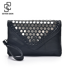 SEVEN SKIN 2017 Designer Shoulder Bags Leather Handbags Women Famous Brands Envelope Evening Clutch Bag for Girl Messenger Bag(China)