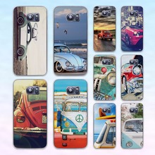Retro summer volkswagen bus beach art transparent clear hard case cover for Samsung Galaxy s6 s7 edge s4 s5 mini note 4 note5
