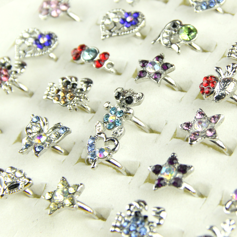 Jewelry wholesale Lots 5Pcs CZ Zirconia Rhinestone Silver Plated Rings FREE