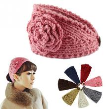 2016 New Fashion Ladies Jewel Accessory Winter Warm Flower  Soft Knit Headband Beanie Crochet Headwrap Women Hat Cap