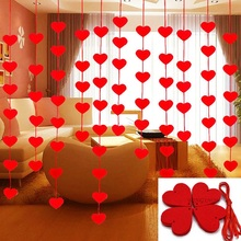 5set/lot(80pcs) 5*5cm Heart Garland With 3m Rope DIY Curtain Felt Non-woven For Wedding Party Valentine Decor Home Supplies 9Z