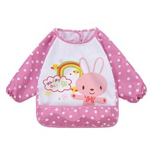 Cute Cartoon Baby Long Sleeve Waterproof Bid Art Apron Lovely Apron Clothing For Baby Self Feeding baberos
