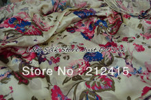 Free shipping 2013 new 100% mulberry silk fabric soft nature pure charmuse silk  print fabric for dress bedding scraf  #LS0771
