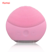 Kemei Electric Face Cleanser Silicone Cleansing Brush Ionic Massager Vibrator Pore Clean Facial Spa Massage Anti-Aging Skin Care(China)