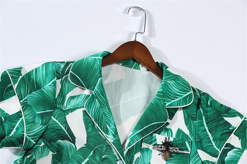 Brand Fashion Two Piece Set Women Runway Suit Fashion Green Leaf Print Dragonfly Beading Shirt + Elastic Waist Pants Sets 14
