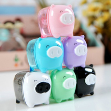mini kawaii cartoon pig candy color knife double orifice mechancial pencil sharpener office school kids stationery