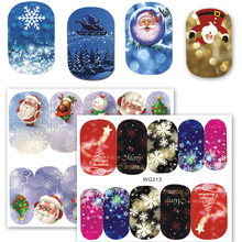 Full Beauty 1 Sheets Christmas Water Transfer Sticker for Nails Full Cover Snowman Santa Clause Manicure Tips Decals CHWG201-218(China)