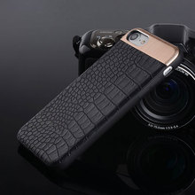 luxury business style copue for iphone 7 case crocodile texture pu leather magnet matel back cover case for iphone 8 6 6s 7 Plus