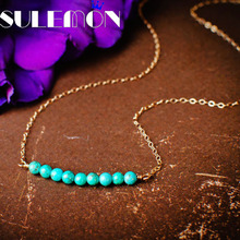 SULEMON Statement Green Stone Necklace For Women Bohemian Dainty Delicate Natural Stone Bead Pendant Gold C Chain Necklaces