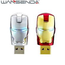 Wholesale Cartoon Iron man pendrive usb flash drive 8GB 16GB 32GB 64GB pen drive Marvel  USB 2.0 U disk memory stick usb stick