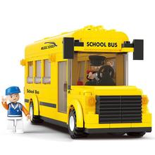 BOHS Plastic Building Blocks Sets Yellow City School Bus DIY Enlighten Bricks Toys 219pcs