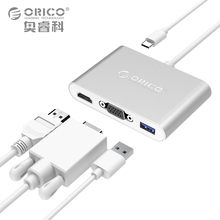 ORICO Aluminum Laptop Docking Station TYPE-C to HDMI VGA Converter with 1 USB3.0 Port for Macbook Laptop PC(China)