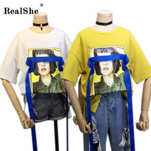 RealShe 2017 Summer Fashion Image Print Ribbon T-shirt Print Frayed T Shirts Female Short Sleeve Sexy Ladies Top
