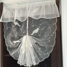 Balloon Curtain Roman Shade Double-sided Embroidery Tulle Organza Sheer Bay Window Door Valance Cafe Bird 60 70 80cm x 1.1 2.6m