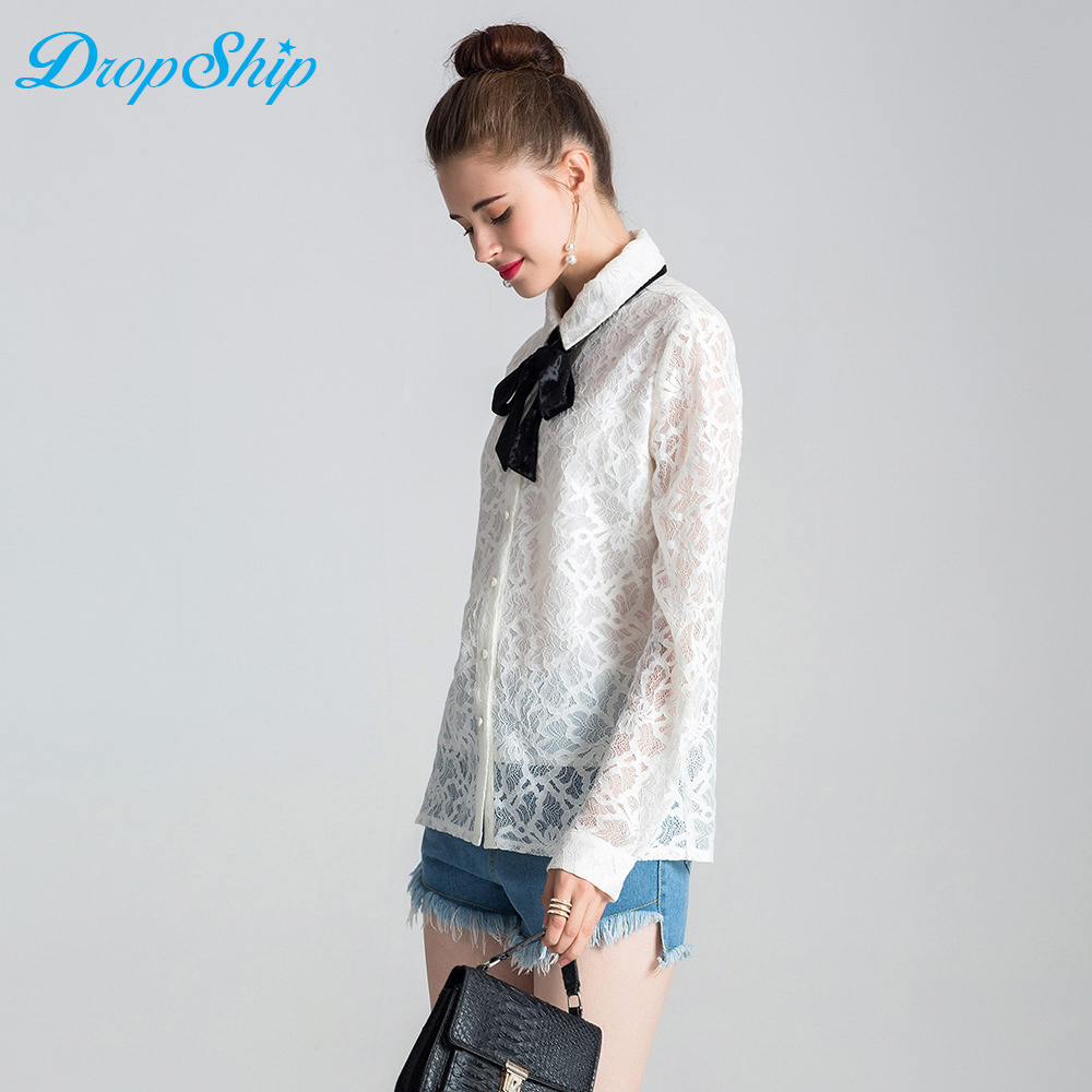 Blouses & Shirts Womens Tops And Blouses Sexy White Red Lace Patchwork Shirt Women Clothes Long Sleeve Shirts Turn Down Collar Blouse Streetwear
