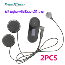 LCD screen + FM Radio!!! 2PCS BT Bluetooth Motorcycle Helmet Intercom Interphone Headset for Motocycle + Soft Earphone(China)