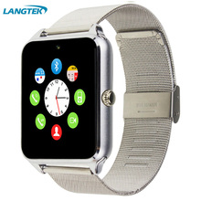 2017 Bluetooth Z60 Smart Watch Stainless Steel Smartwatch Support SIM TF Card Camera Call SMS Remind Wristwatch For IOS Android