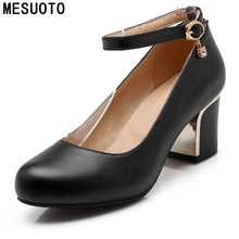 MESUOTO Quality Soft PU Faux Leather Round Toe Strap Buckle Square Heels Women Pumps Spring Dress Shoes Woman