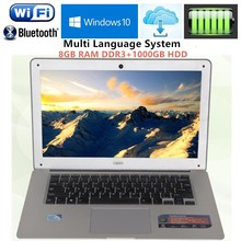 14.1inch 1920X1080P FHD 8GB RAM DDR3+1000GB HDD Windows7/8 Ultrathin Intel J1900 Quad Core Fast Running Laptops Netbook Computer(China)