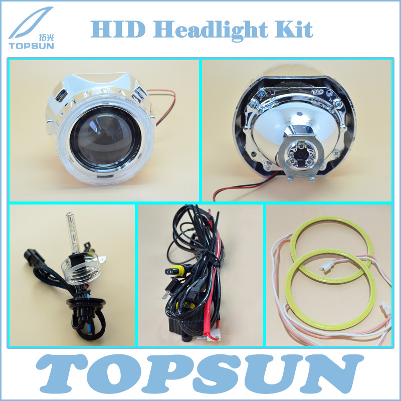 Car Light Kit 2.5 WST Projector Lens, Cover, 35W H1 HID Xenon Bulb, COB Angel Eyes, High/Low Beam Control Wire, Free Shipping<br><br>Aliexpress